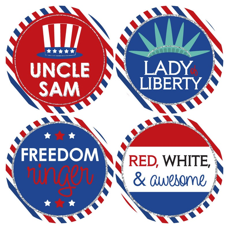 4th Of July Party Name Badges Funny Name Tag Stickers Etsy