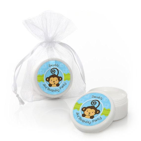 Monkey Baby Shower Party Favors: Blue Monkey Boy Lip Balm Party Favors