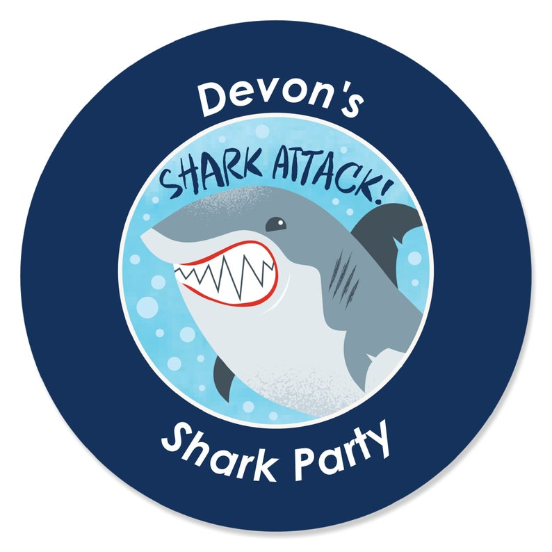 Shark Stickers -24 Ct. Shark Zone Jawsome Shark Viewing Week Party Circle Stickers Party Stickers DIY Shark Party Sticker Labels