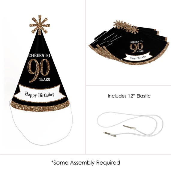 90th Birthday Party Hats Adult Gold Cone