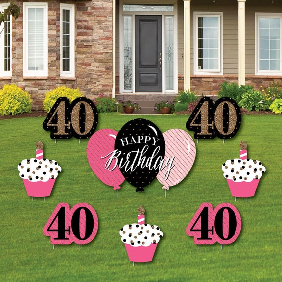 Chic 40th Birthday Yard Decorations Party Cupcake