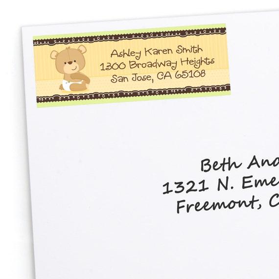 teddy bear address labels personalized return address etsy