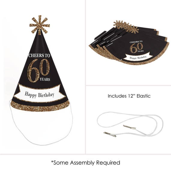60th Birthday Party Hats Adult Gold Cone
