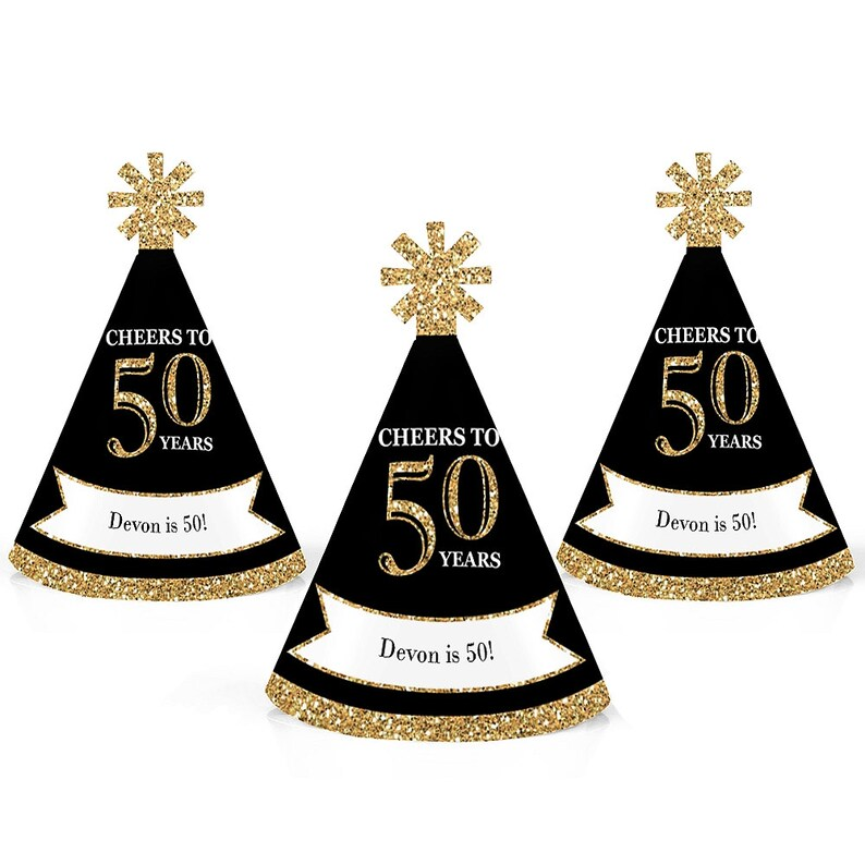 50th Birthday Party Personalized Mini Cone Hats