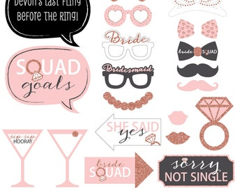 Bride Squad - Photo Booth Props - Rose Gold Bridal Shower or Bachelorette Party - with Mustache,  Glasses and Custom Talk Bubble - 20 Pcs.