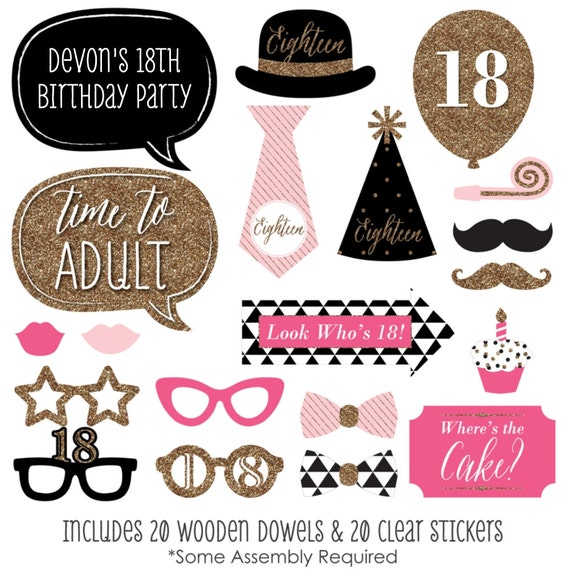 Chic 18th Birthday Pink Black And Gold Party Photo Booth Props
