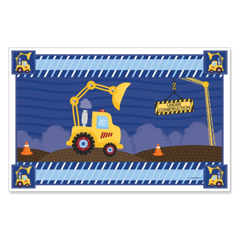 Dump Truck Party Supplies Baby Shower or Birthday Party Placemats Construction Truck Party Table Decorations 12 Ct