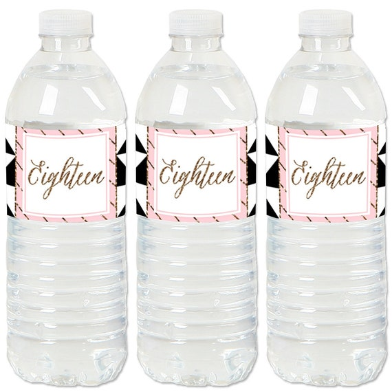 18th Birthday Party - Water Bottle Sticker Labels