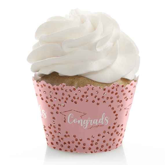 Rose Gold Grad Graduation Cupcake Wrappers Grad Party