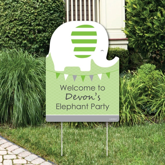 Green Elephant Welcome Sign 1st Birthday Party Or Baby