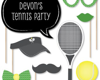 You got Served - Tennis - Photo Booth Props - Photobooth Kit with Custom Talk Bubbles - Baby Shower or Birthday Prop Kit - 20 Pcs
