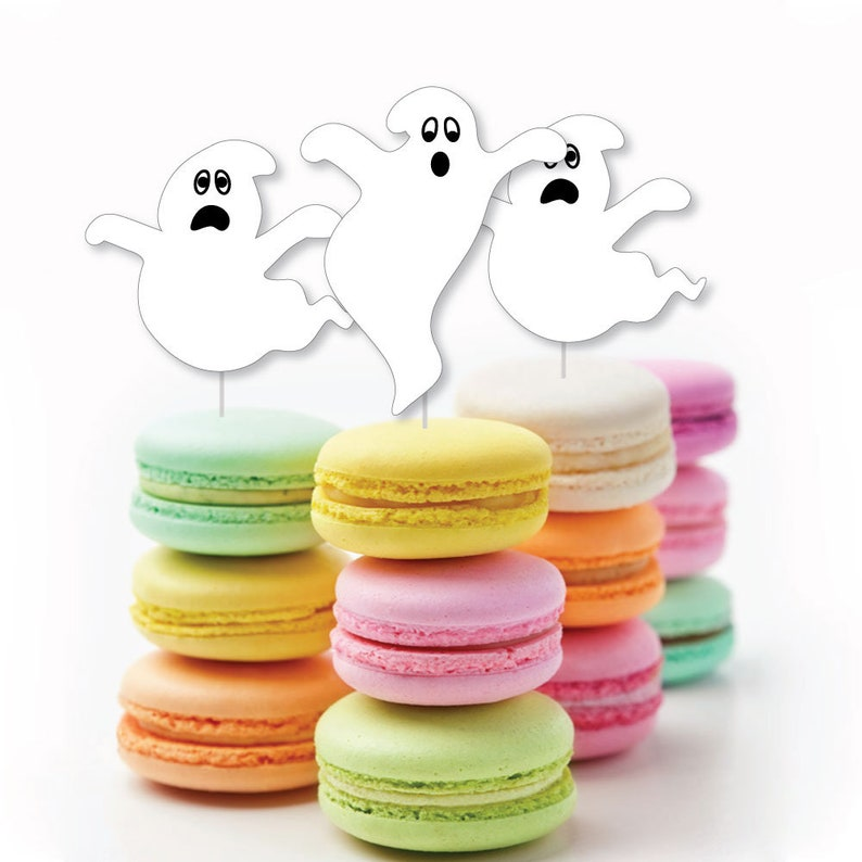 Set of 24 Ghost Themed Party Supplies Spooky Ghost Dessert Cupcake Toppers Halloween Party Clear Treat Picks