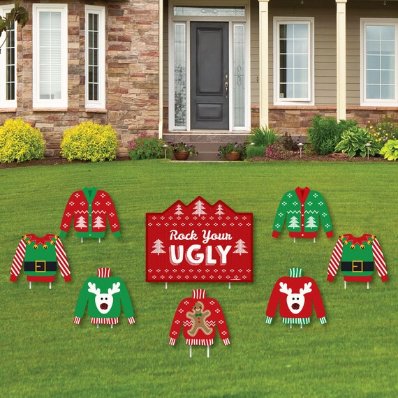 Ugly Sweater Party Shaped Lawn Decorations Holiday Yard