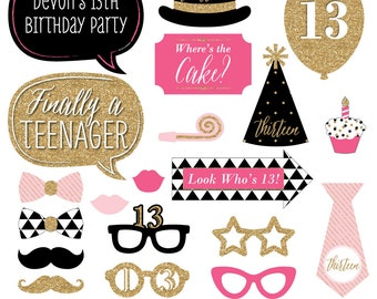 Chic 13th Birthday - Pink, Black, and Gold - Photo Booth Props - 13th Birthday Party Girl Photobooth Kit with Custom Talk Bubble - 20 Pieces