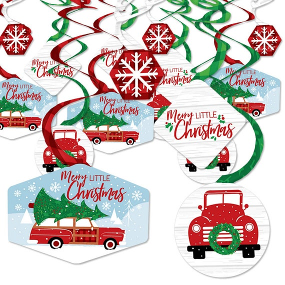 Merry Little Christmas Tree Red Truck And Car Christmas Party Hanging Decor Party Decoration Swirls Set Of 40 By Big Dot Of Happiness Catch My Party