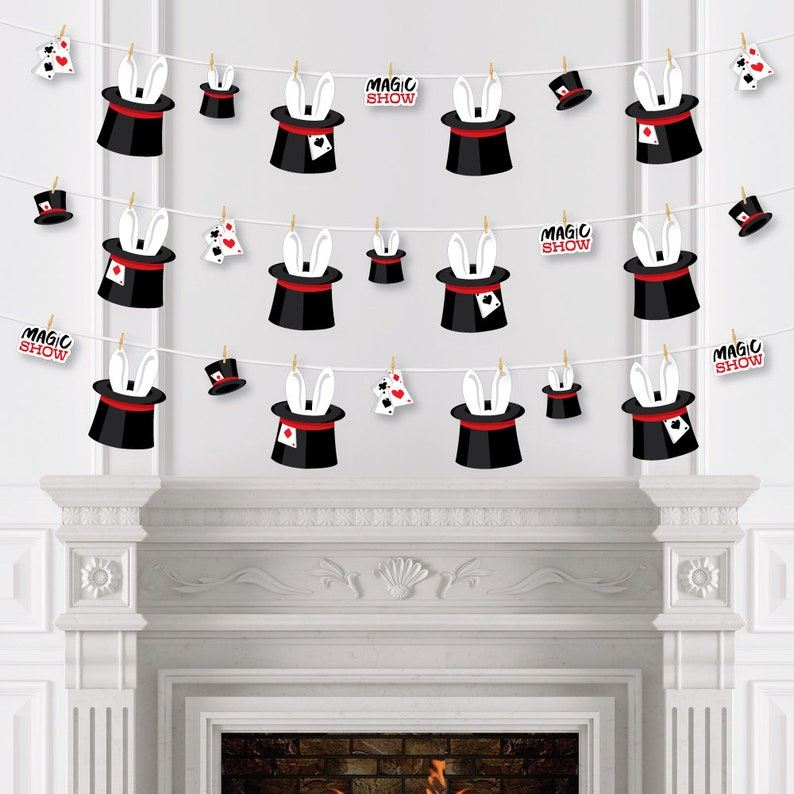 Magic Show Magical Birthday Party DIY Decorations 44 Pieces Clothespin Garland Banner Ta-Da