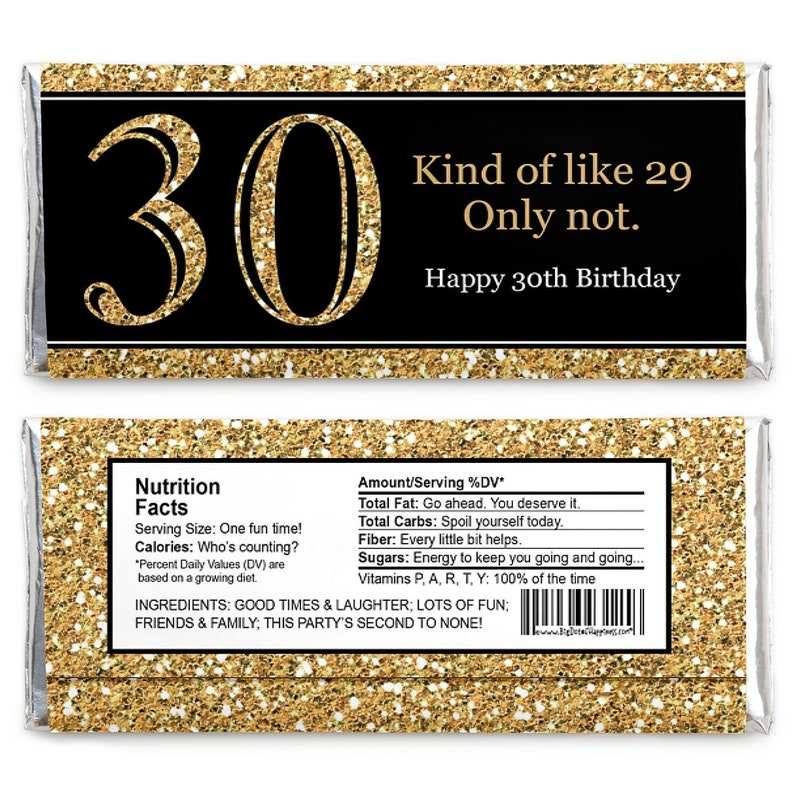 Adult 30th Birthday Birthday Party Favors Gold 30th Birthday Candy Bar Wrappers Set of 24