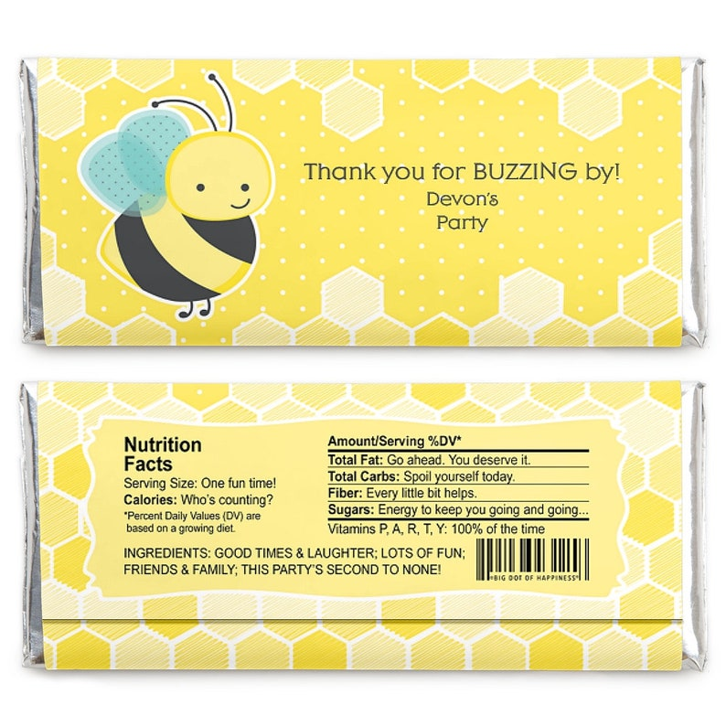 Personalized Candy Bar Wrapper Baby Shower or Birthday Party Favors Honey Bee Set of 24