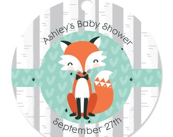 20 Custom Mr. Foxy Fox Party Tags - Personalized Party Supplies for a Baby Shower or Birthday Party