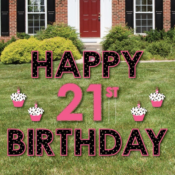 21st Birthday Party Yard Sign Finally 21 Girl Outdoor Lawn