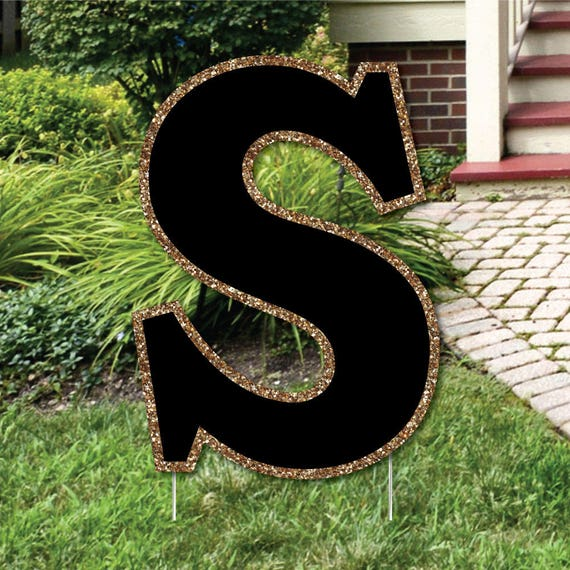 """Yard Letter S - Black and Gold - 15.5"""" Letter Outdoor Lawn Party Decoration - Weather Resistant Monogram Letter S"""