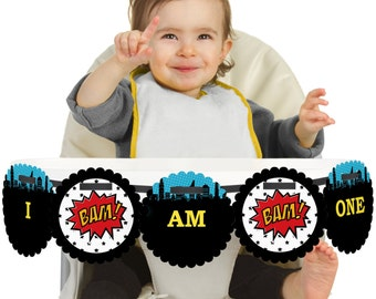 Superhero - 1st Birthday - I Am One - First Birthday High Chair Banner - First Birthday Party Decorations