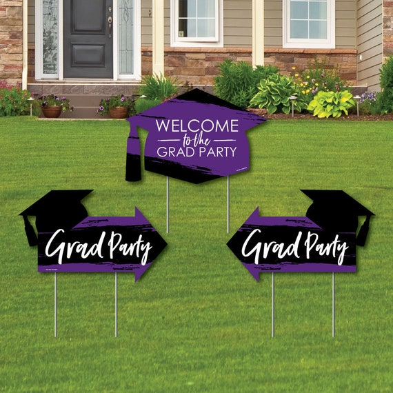 3 Pcs Double Sided Grad Yard Sign Set Best is Yet to Come Pink Grad 2 Graduation Party Arrows and 1 Welcome  Thank You Lawn Sign