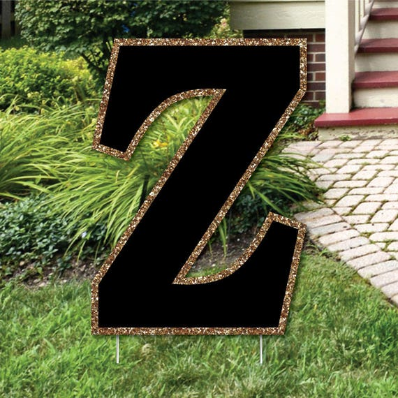 """Yard Letter Z - Black and Gold - 15.5"""" Letter Outdoor Lawn Party Decoration - Weather Resistant Monogram Letter Z"""