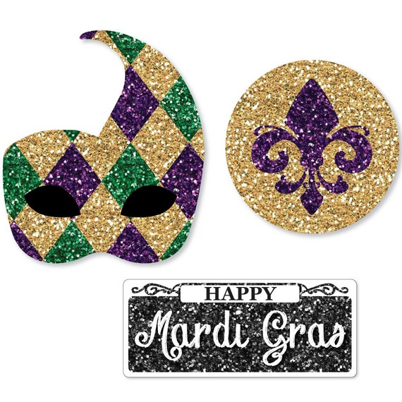 Mardi Gras Decorations Diy Shaped Mardi Gras Paper Cut Outs