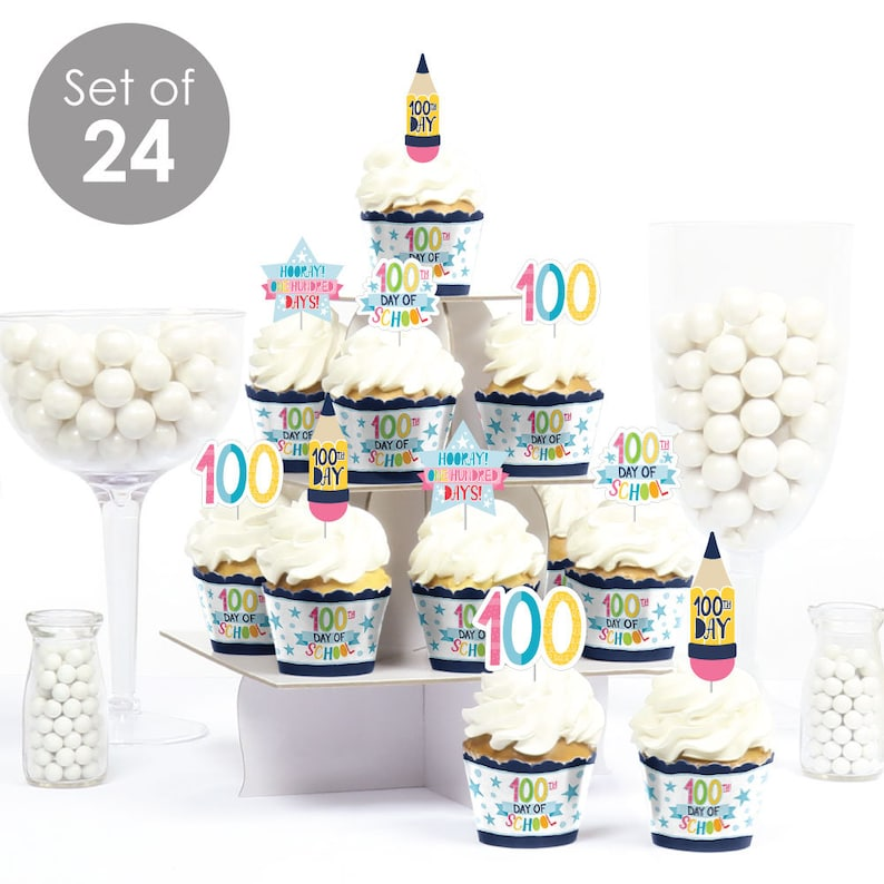 Cupcake Decoration Happy 100th Day of School 100 Days Party Cupcake Wrappers and Treat Picks Kit Set of 24