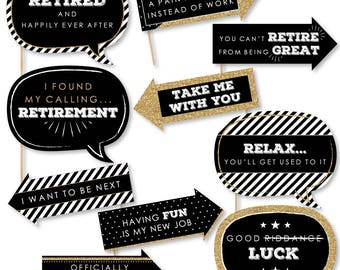 Funny Happy Retirement - Photo Booth Props - Retirement Party Photo Booth Prop Kit - Retirement Party Selfie Photo Props - 10 pc.