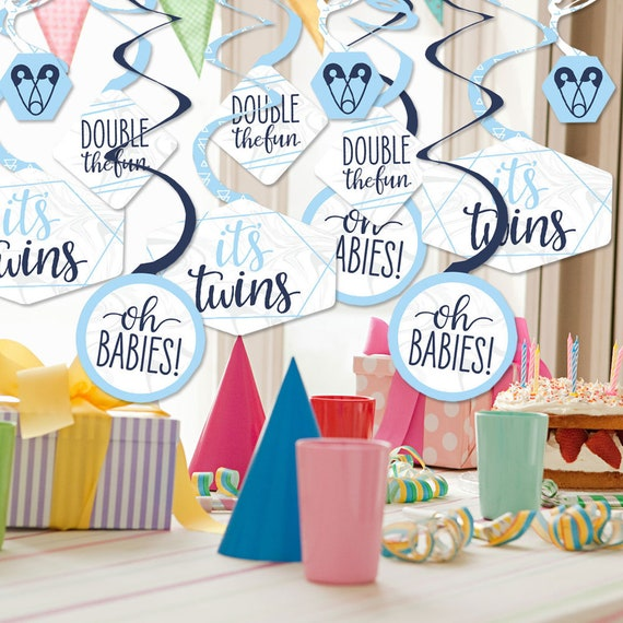 Blue Twins Baby Shower Decorations Party Banner Big Dot of Happiness It/'s Twin Boys/