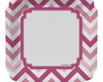 8 Count - Chevron Pink Dinner Plates ...  sc 1 st  Etsy & Pink dinner plates | Etsy