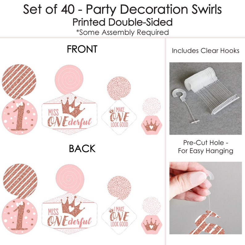 Party Decoration Swirls Girl First Birthday Party Hanging Decor 1st Birthday Little Miss Onederful Set of 40