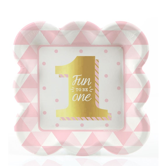 First Birthday Girl Gold Foil Print Dessert Plates - Fun to Be One Tableware - Pink Cake Plates - 1st Birthday Party Supplies - 8 ct from BigDotOfHappiness ...  sc 1 st  Etsy Studio & First Birthday Girl Gold Foil Print Dessert Plates - Fun to Be One ...