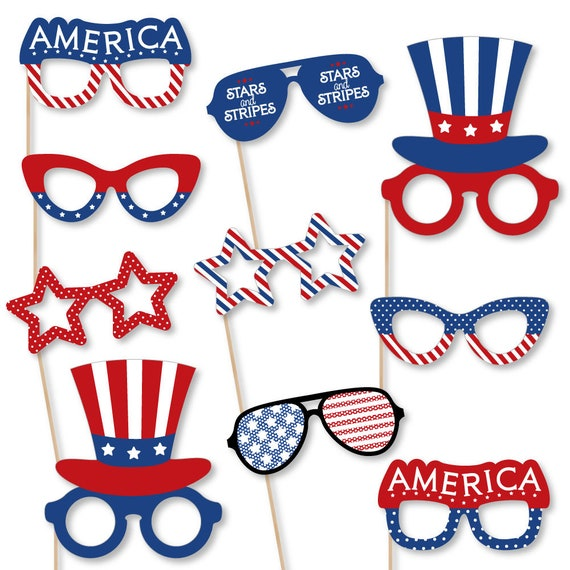Patriotic Glasses Photo Booth Accessories Fun Selfie 4th Of July