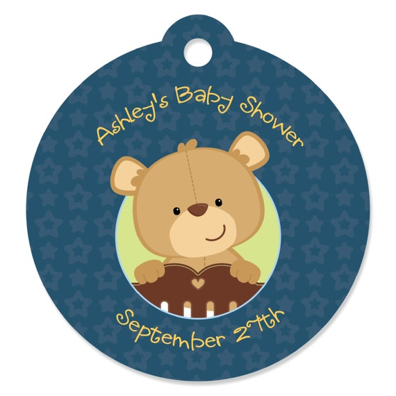 Boy Teddy Bear Personalized Party Tags Baby Shower Or