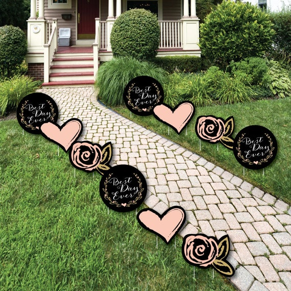 Best Day Ever - Lawn Decorations - Outdoor Bridal Shower Yard Party Decorations - Hearts and FLowers - Shaped Lawn Ornaments - 10 Piece Set