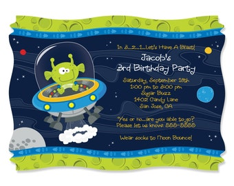 Space Alien Party Invitations - Printed Birthday Party Supplies - Set of 12