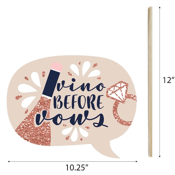 Funny Vino Before Vows Winery Bridal Shower or Bachelorette Party Photo Booth Props Kit 10 Piece