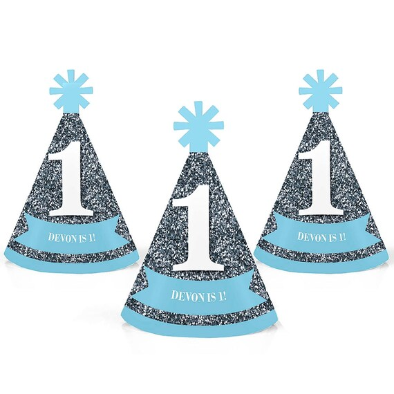 1st Birthday Personalized Mini Cone Party Hats Small