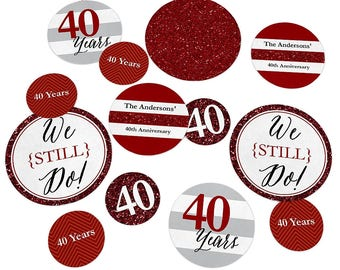 40th Wedding Anniversary - Giant Circle Confetti - Anniversary Party Decorations - We Still Do - 40th Anniversary Large Confetti - 27 Count