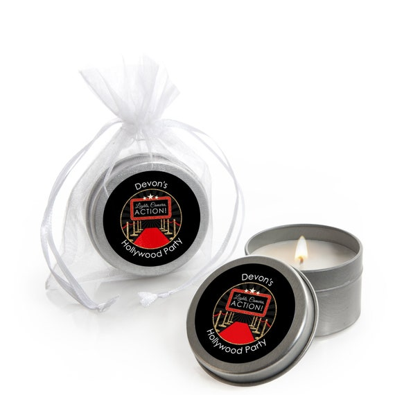 Red Carpet Hollywood Candle Tin Baby Shower Favors