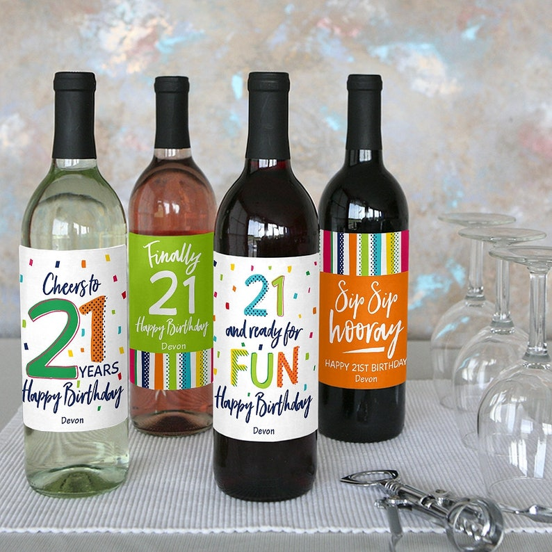 21st Birthday Set of 4 Sticker Labels Wine Gifts Cheerful Happy Birthday Colorful Birthday Party Decorations for Women and Men