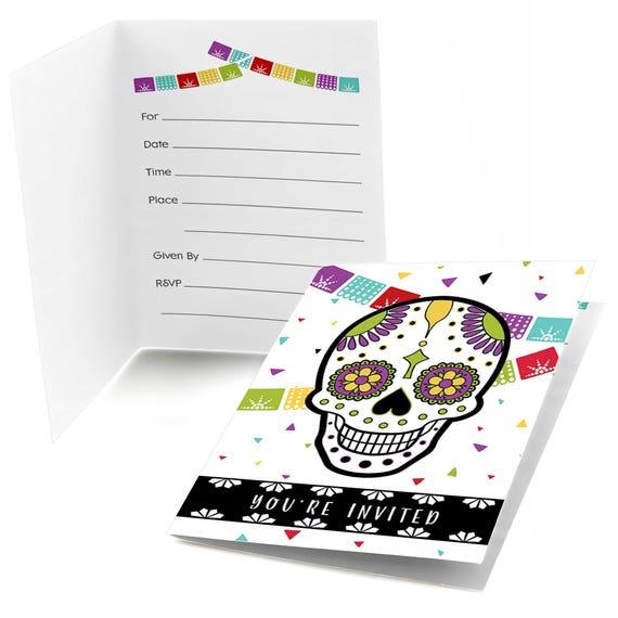 Day Of The Dead Fill In Invitations Halloween Sugar Skull Invite
