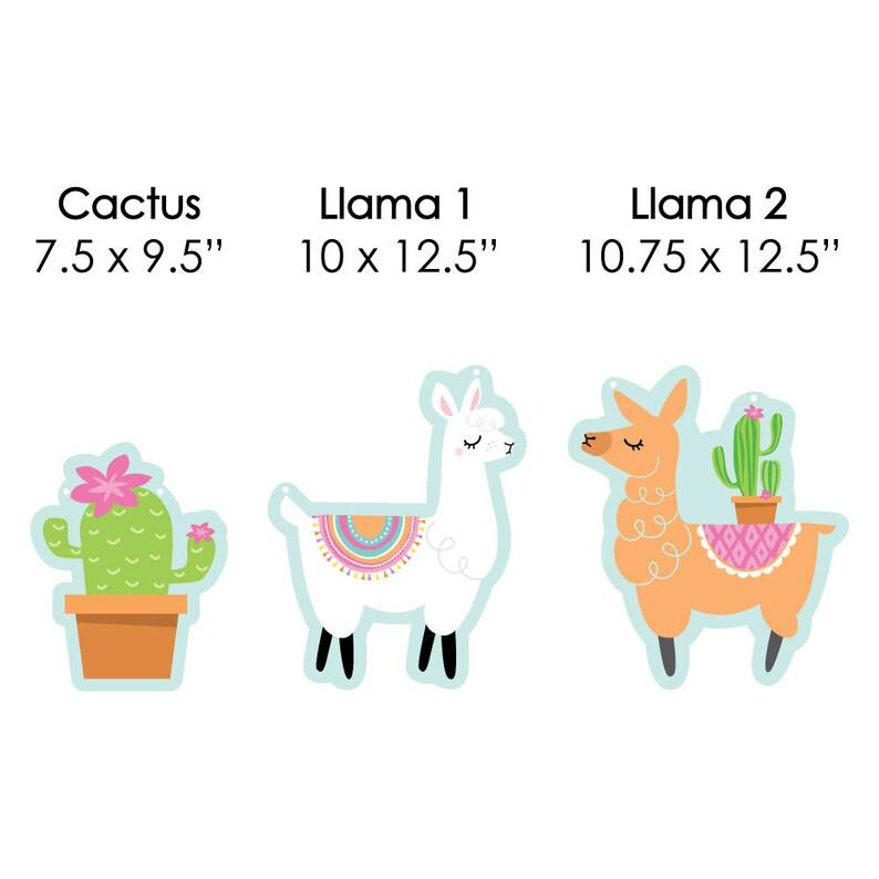 Llama Party Baby Shower and Birthday Decor Hanging Whole Llama Fun Outdoor Llama Fiesta Porch /& Tree Yard Decorations 10 Pc.