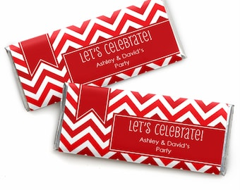 24 Chevron Red Custom Candy Bar Wrappers - Personalized Baby Shower,  Birthday Party, or Bridal Shower Favors
