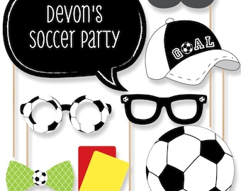 20 GOAAAL! - Soccer Photo Booth Props - Soccer Photobooth Kit with Custom Talk Bubbles for Baby Shower or Birthday Party