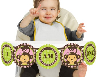 Pink Monkey Girl - 1st Birthday - I Am One - First Birthday High Chair Banner - First Birthday Party Decorations