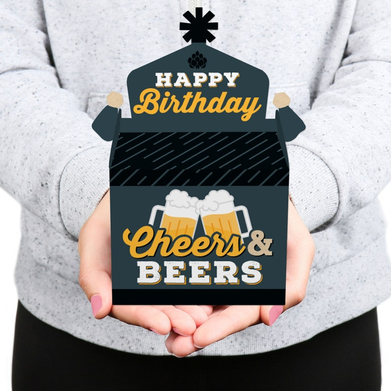 Cheers and Beers Happy Birthday Set of 12 Treat Box Party Favors Birthday Party Goodie Gable Boxes